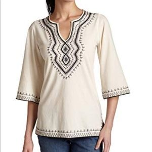 NWT Lucky Brand Metallic Embroidery  Abby Tunic
